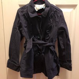 Girls Old Navy Belted Jacket Navy Blue Size XS